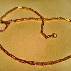 B204-Lant ceas buzunar barbat alama aurita cu zale dreptunghiulare.