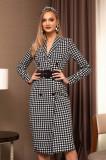Rochie PrettyGirl neagra office midi tip sacou din stofa cu maneci lungi