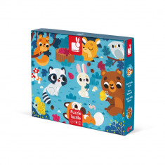 Puzzle tactil - Animale din padure - 20 de piese, Janod J02685