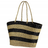 Handmade Natural Seagrass Striped Large Tote Bag