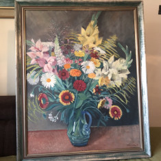 Tablou,pictura germana,flori in vaza,ulei pe panza