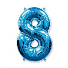 Balon folie cifra mare, albastru metalizat, 35 cm, pentru aniversari model model 8