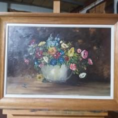 Tablou ulei pe panza -Ghiveci cu flori, Realism