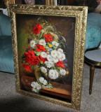 18 Tablou cu Flori, Maci si margarete, Pictura cu flori de mac in vaza 60x80 cm