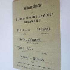 Rară! Legitimatie/Carnet de contribuabil functionar public Germania nazista 1937