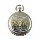 Cumpara ieftin Ceas de buzunar masonic Argintiu cu simbol Auriu - MM894