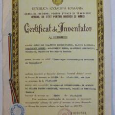 CERTIFICAT DE INVENTATOR , ACORDAT LA 27 IULIE 1987