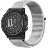 Curea ceas Smartwatch Garmin Fenix 5, 22 mm iUni Soft Nylon Sport, White Gray