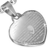 Pandantiv din oțel, inimă argintie plată, o rugăciune