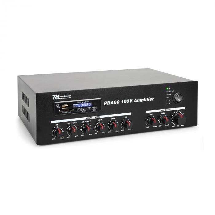 Power Dynamics PBA60, amplificator 100 V, 60 W, port usb / sd, mp3, bluetooth