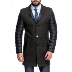 Palton Barbati Maro Casual Lung cu Maneci Umplute cu Puf de Gasca B145 Cer