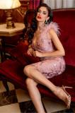 Rochie MBG roz de seara cu paiete si fulgi la umeri