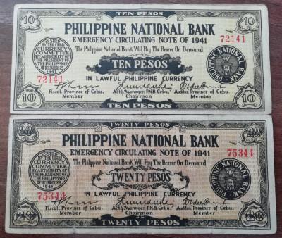 FILIPINE LOT - 10 + 20 Pesos 1941 - Provincia Cebu - OCUPATIE JAPONEZA foto