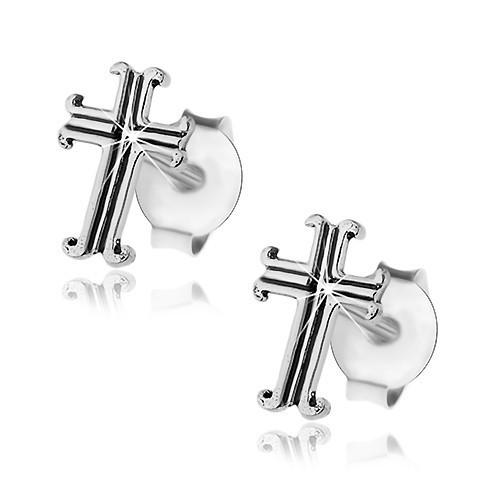 Cercei din argint 925, cruce patinată floare de crin, închizătoare cu șurub