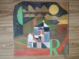 Tablou abstract, ulei pe carton, semnat, 40 x 40 fără ramă