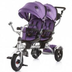 Tricicleta Pentru Copii gemeni Chipolino Tandem - Mov