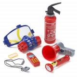 Set 7 Accesorii Pompier cu Lanterna si Masca de Gaze