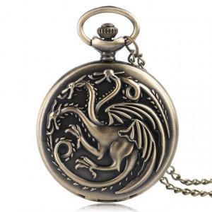 Lantisor Cu Pandantiv Ceas Game Of Thrones Daenerys Targaryen Dragons 4.5cm