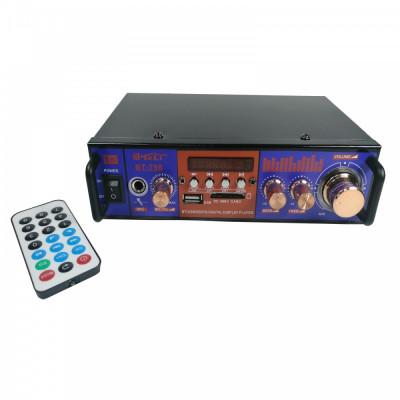 Amplificator digital tip Statie 2x25 W Bluetooth telecomanda intrari USB SD CARD microfon foto