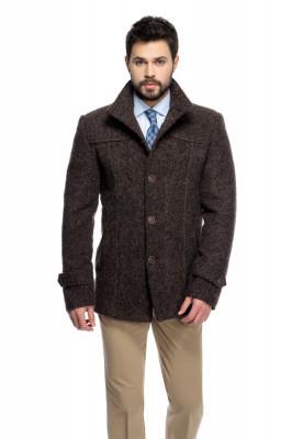 Palton barbati slim maro cu dungi B142 foto