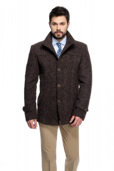 Palton barbati slim maro cu dungi B142