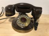 Telefon fix vintage italian,din ebonita,cu disc,placat cu aur de 18 k