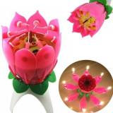 Lumanare muzicala Happy Birthday, forma floare cu 8 lumanari, PRC