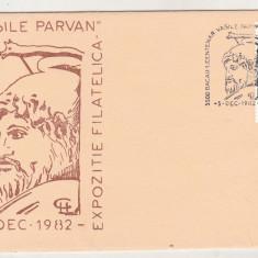 Bnk fil - Plic ocazional Expofil Bacau 1982 - Centenar Vasile Parvan, Romania de la 1950, Istorie