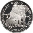 Insulele Cook 10 Dollars 1990 - (Elephant) Argint 10g/925. Aoc1 , KM-80 UNC !!!