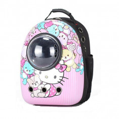 Rucsac transport animale de companie, tip capsula astronaut, Hello Kitty, Gonga
