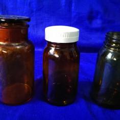 Lot 3 borcane vechi din sticla. Borcane farmaceutice.