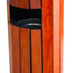 Scrumiera exterioara cu cos gunoi rotund lemn 35x35xh80cm MN0185109 Raki