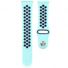 Curea ceas Smartwatch Samsung Gear S3, iUni 22 mm Silicon Sport Turqoise-Blue