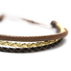 Bratara de piele, pentru cupluri, unisex, maro-auriu, Snake