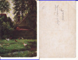 Ilustrata , peisaj - casa taraneasca cu gaini, Necirculata, Printata