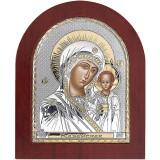Icoana Argint Maica Domnului de la Kazan cu Auriu 11x13cm COD: 1391