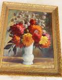 Cumpara ieftin Flori - ulei pe placaj inramat - semnat - pictor neidentificat