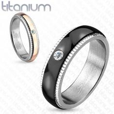 Bandă din titan, argintie, fâșie neagră cu zirconiu, caneluri, 6 mm - Marime inel: 67