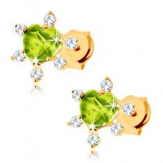Cercei din aur galben 14K - inimă verde, zirconii transparente