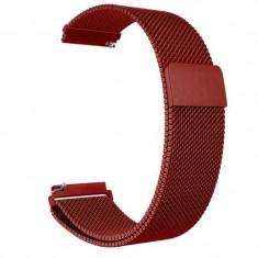 Curea tip Milanese Loop compatibila cu Fitbit Versa, Telescoape QR, 22mm, Metalic Red