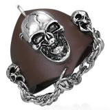 Cumpara ieftin Brățară din piele veritabilă – craniu vampir, lanț