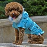 Jachetă pentru câine, cu buzunar fals - albastru, M