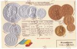 2016 - King CAROL I, Romanian Coins, Flag - old postcard, embossed - unused