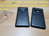Husa silicon negru  cu piele pe exterior samsung  note 9 ieftin la pret