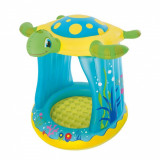 "Piscina pentru copii ""Broscuta Jucausa"" cu Parasolar si Podea moale gonflabila , Protectie UV50+, Kit reparatie inclus, Bestway, Rotund"