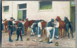 AX 114 CP VECHE INTERBELICA - MILITARA - ARTILERIE -INGRIJIREA CAILOR-SCRISA1914, Franta, Necirculata, Printata