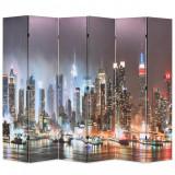 Paravan cameră pliabil 228 x 170 cm, New York pe timp de noapte, vidaXL