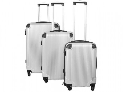Set 3 Valize Tip Troler, Impermeabile cu Roti, Fermoar si Cifru, Culoare Argintiu foto