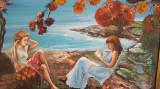 "PICTURA, tablou romantic nou,""Fete la malul marii"",  pictor roman consacrat"