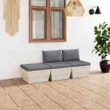 VidaXL Set mobilier grădină din paleți, 3 piese, cu perne, lemn de molid